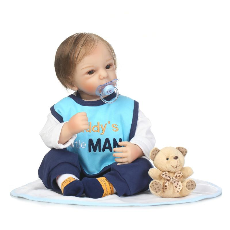 Silicone Lifelike 50cm Boy Baby Doll High Quality Soft Silicone Doll With Magnetic Pacifier Play House Toy Birthday Gift