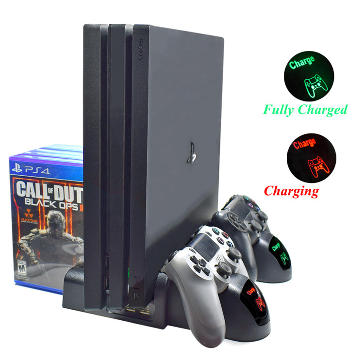 PS4 Controller Charger With LED Indicators PS4 Vertical Cooling Stand Charging Dock Station For PS4,PS4 Slim,PS4 Pro