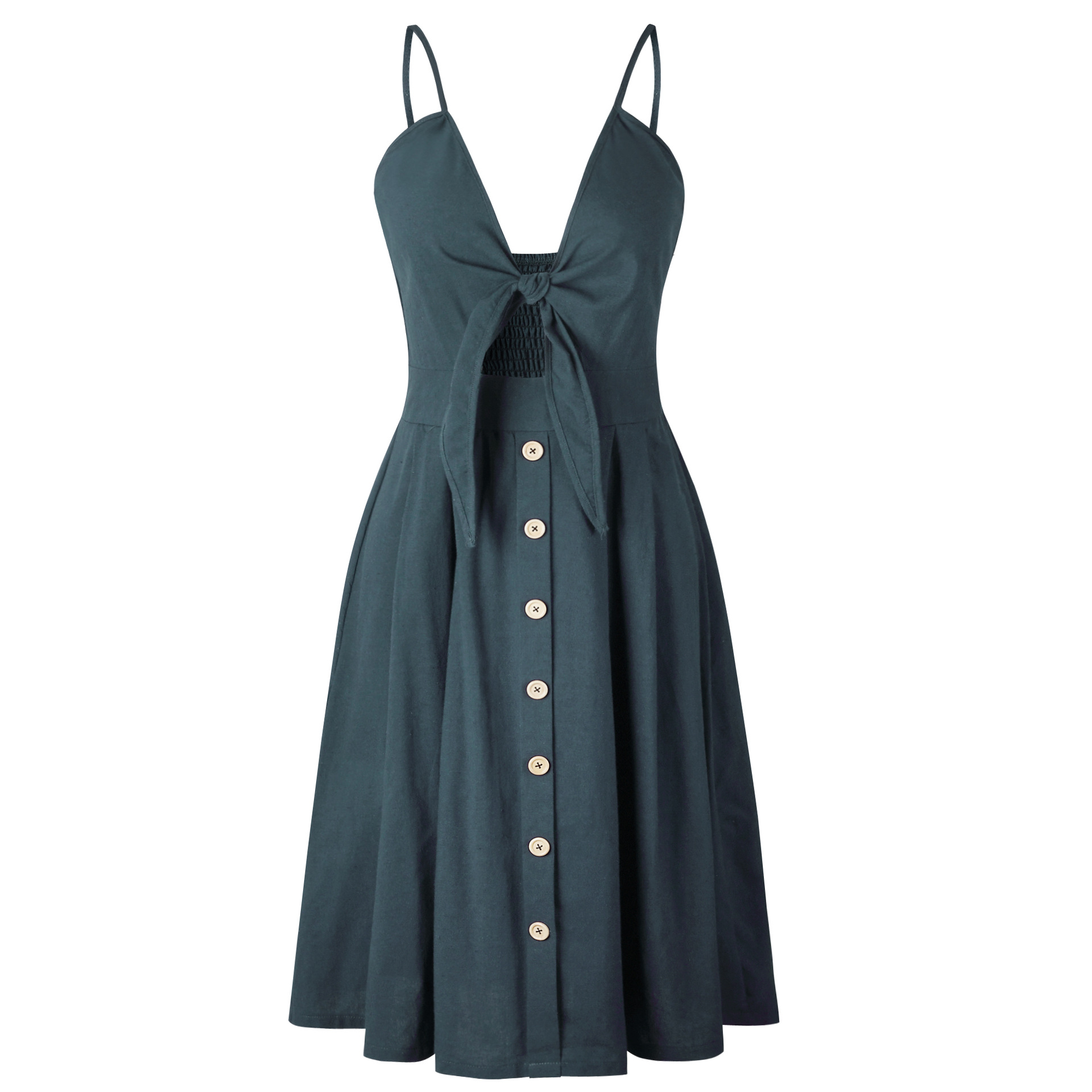 Sexy Bow Backless Polka Dots Print Beach Summer Dress Women 2018 Cotton Deep V Neck Buttons