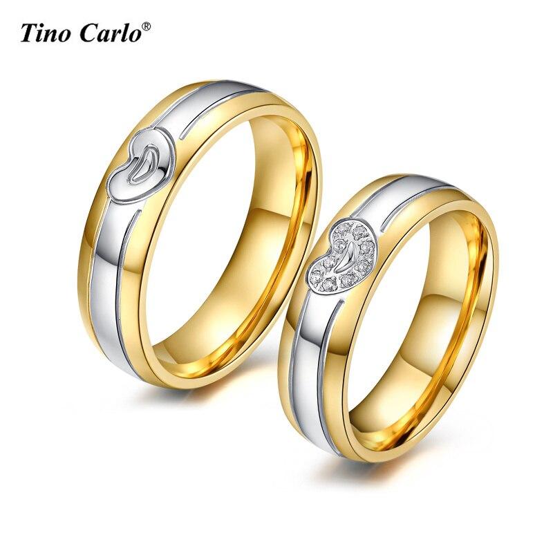 Tino Carlo Lover обещание Свадебные Кольца сердца любителей Кольца для Для женщин/Для мужчин золото-цвет Нержавеющаясталь Jewelry sfc031