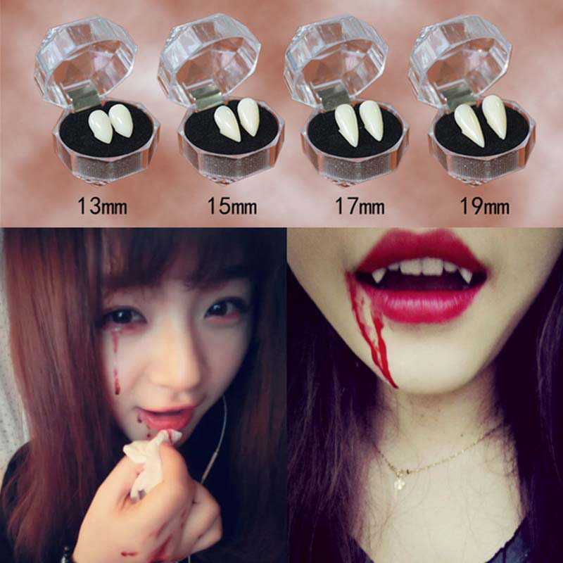 Cyuan Vampire Teeth Fangs Dentures Props Halloween Costume Props Party Favors Mask Holiday DIY Decorations Fake Vampire Teeth