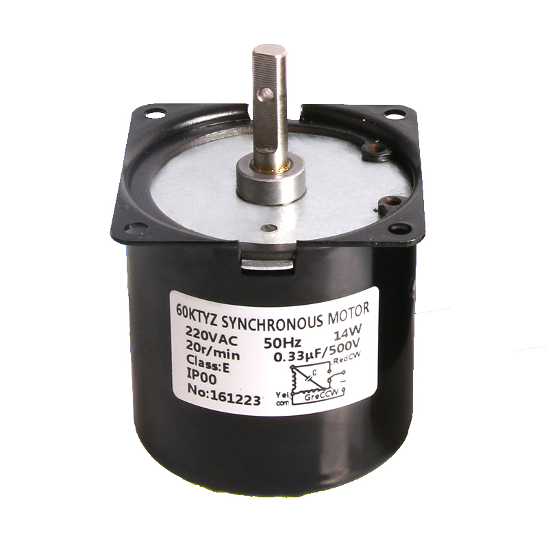 60KTYZ Permanent Magnet Synchronous font b Motor b font with 7mm shaft low speed AC220V 14w