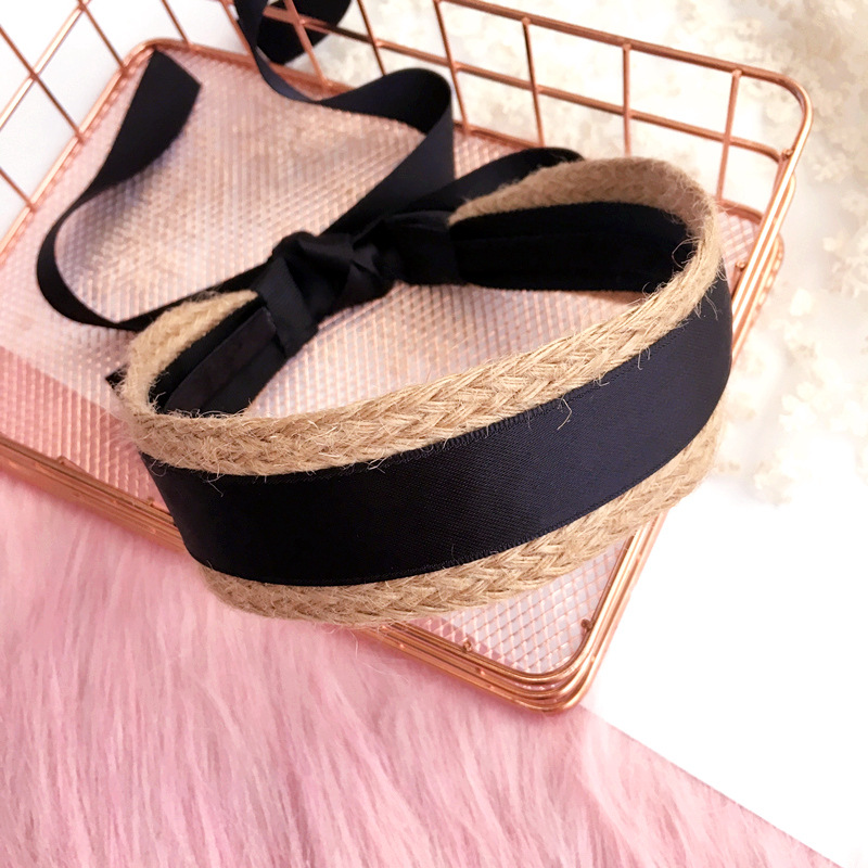 Straw Weave Black Ribbon Headband Hand Made Tie Knot Hair Accessories  For Girls Hair Bows Hair Band Headbands For Women