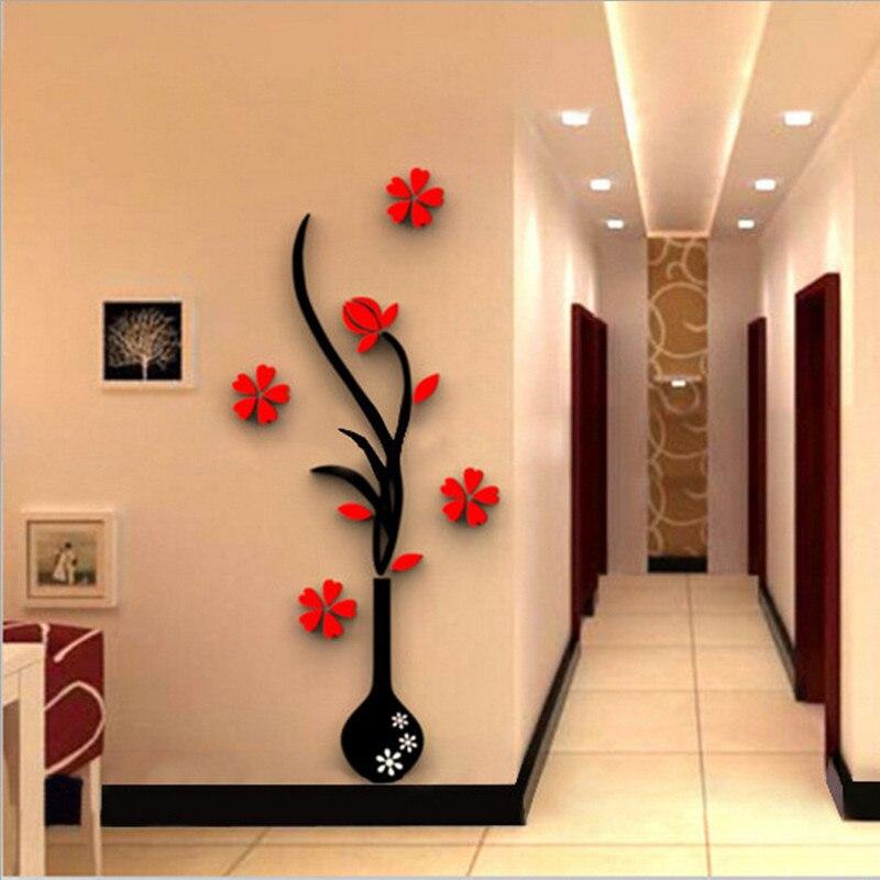 5 גודל צבעוני רב חתיכות אגרטל פרחי 3D אקריליק קישוט קיר מדבקת DIY אמנות פוסטר לקיר בית תפאורה חדר שינה Wallstick