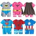 New2014 verão dos desenhos animados 100% algodão Batman macacão de bebê Superman Romper de manga curta bebê Jumper