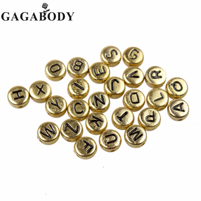 Wholesale 500G Lot Round Shape 26 Alphabet Beads Acrylic Gold Color Letter  Beads for DIY Bracelet or Nceklace A to Z Letter 36bc1d1ce787