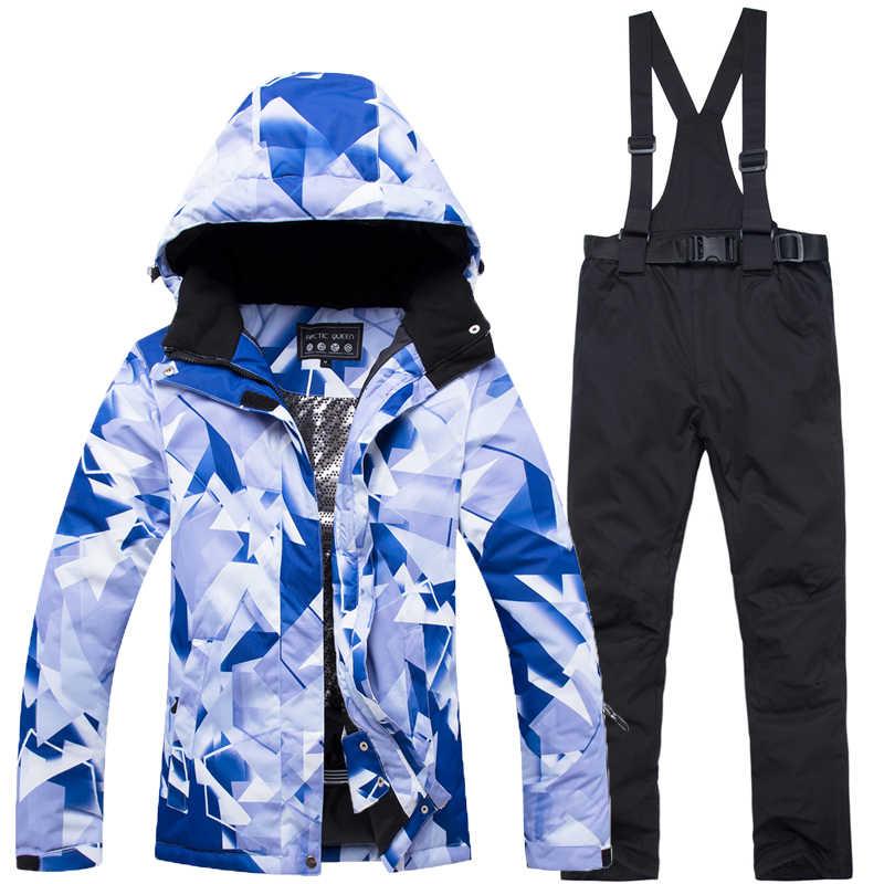 2019 Новый дешевый женские 10 К лыжный костюм комплект сноуборд  водонепроницаемый ветрозащитный 10000 зима альпинизм куртка 924d1c36348