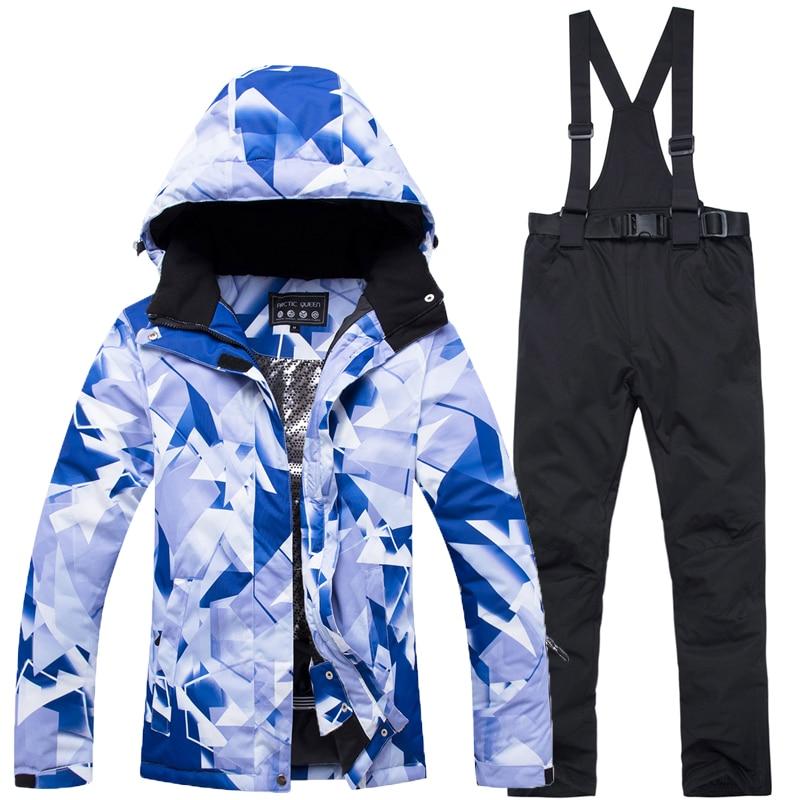 2019 nouveau moins cher femmes de 10 k combinaison de ski snowboard coupe-vent imperméable mis 10000 hiver alpinisme veste + bavoir chaud pantalon