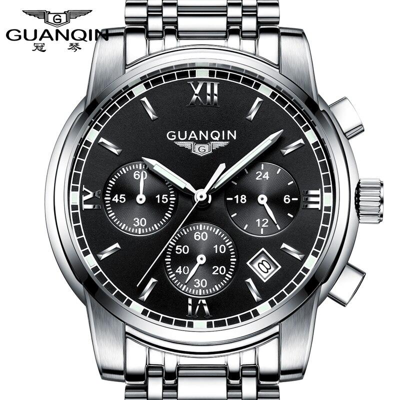 GUANQIN Montre Quart Hommes D'affaires Marque En Acier Inoxydable Chronographe Lumineux Étanche Sport Horloge Hommes Mode Casual Montre-Bracelet