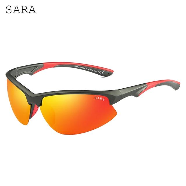 6a6962e173d 2018 Mens Polarized Hiking Sport Sunglasses Color Driving Glasses Orange Lens  Semi Rimless Climbing Sun Glasses Men SARA Brand