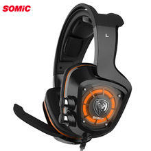 SOMiC G910 virtual 7.1 Gaming earphone headphone with Mic Surround Sound Vibration USB Headset Bass LED light for PC Laptop