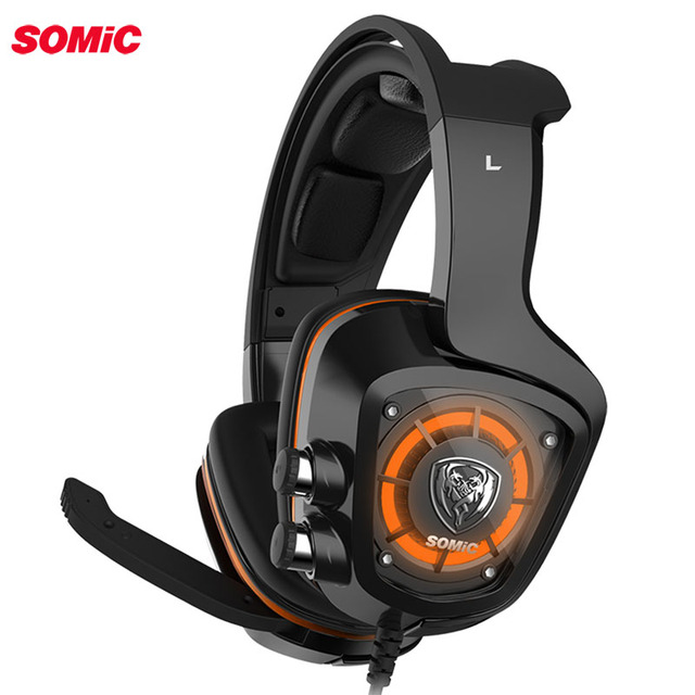 SOMiC G910 virtual 7.1 Gaming earphone headphone with Mic Surround Sound Vibration USB Headset Bass LED light for PC Laptop