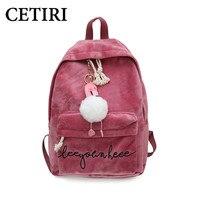 CETIRI zaini adolescenti per ragazze velluto zaino donne borsa palla rosa scuola zaino Ricamo cigni inverno book bag mochila