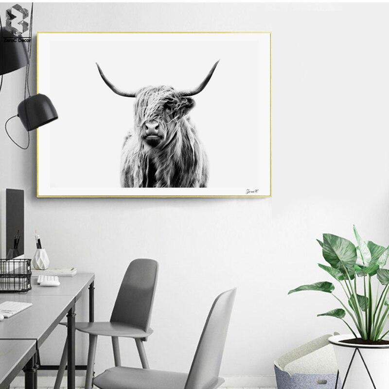 Highland Cattle Affiches et Gravures Noir Blanc Wall Art Toile Peinture Vache Mur Photos Pour Salon Décoration