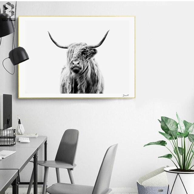 Highland Cattle Poster Und Drucke Schwarz Weiß Wandkunst Leinwand Malerei  Kuh Wandbilder Für Wohnzimmer Dekoration