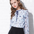 S-2XL Women Long Sleeve Chiffon Shirts 2017 Spring Floral Printed Blue Blouse Ladies Office Tops Korean Fashion Flower Clothes