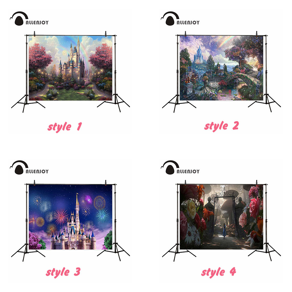Allenjoy vinyl 7x5ft photography backdrop Rainbow Castle Alice Dreamy land Fireworks New Year fairy tale child party photocall