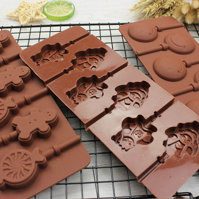 6 round sweet circle silicone chocolate mold match stick diy hand tools swirl lollipop mould christmas - Matchstick Tile Garden Decoration