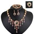 Mulheres banhado a Ouro conjuntos de jóias com brincos de cristal verde declaração colar vermelho para a festa de casamento boho Moda moda colar