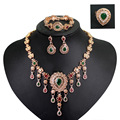 Women Gold plated red green crystal jewelry sets with earrings statement necklace for party wedding boho Trendy fashion necklace