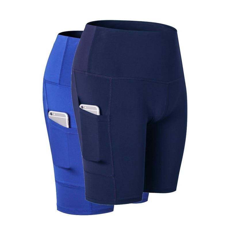 ①  Женская талия Yoga Slant Pocket Бег Обучение Спорт Быстросохнущие облегающие эластичные шорты для фи ①