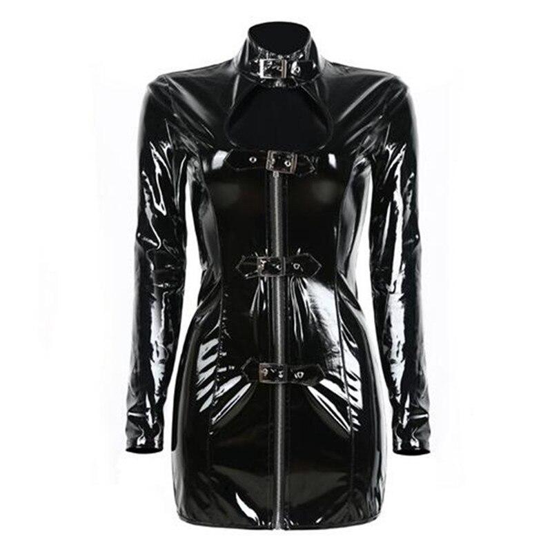 Лидер продаж Пряжка ПВХ платье Блестящий Для женщин Готический длинным  рукавом Мини-платья на молнии Bodycon Высокий воротник открытый бюст . b54d1c5d00d