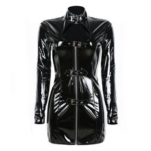Hot Buckle PVC Dress Shiny Women Gothic Long Sleeve Mini Dresses Zip Up Bodycon High Collar Open Bust Wetlook Clubwear Costume