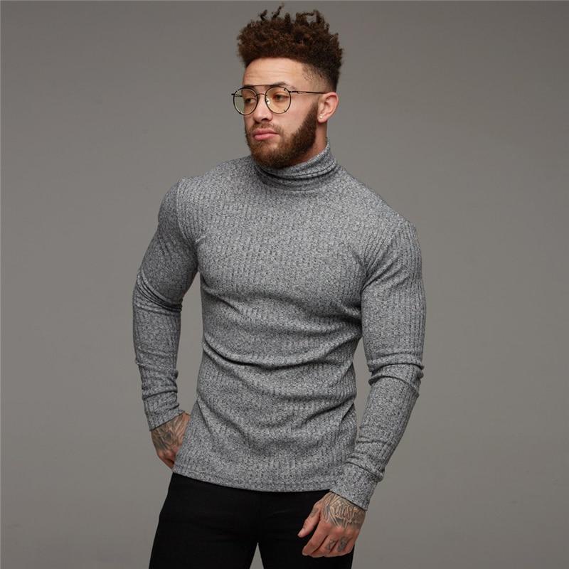 Nova Camisola do Inverno Da Forma Dos Homens Quentes Gola Alta Camisolas Dos Homens Slim Fit Homens Pullover Clássico Homens Sweter Malhas Puxar Homme