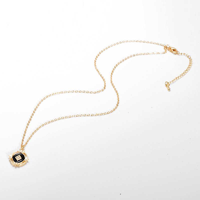 Liar & Gratis Vintage Geometris Liontin Kalung untuk Wanita Gaya Baroque Hitam Berongga Rantai Collarnecklace Pendients Perhiasan