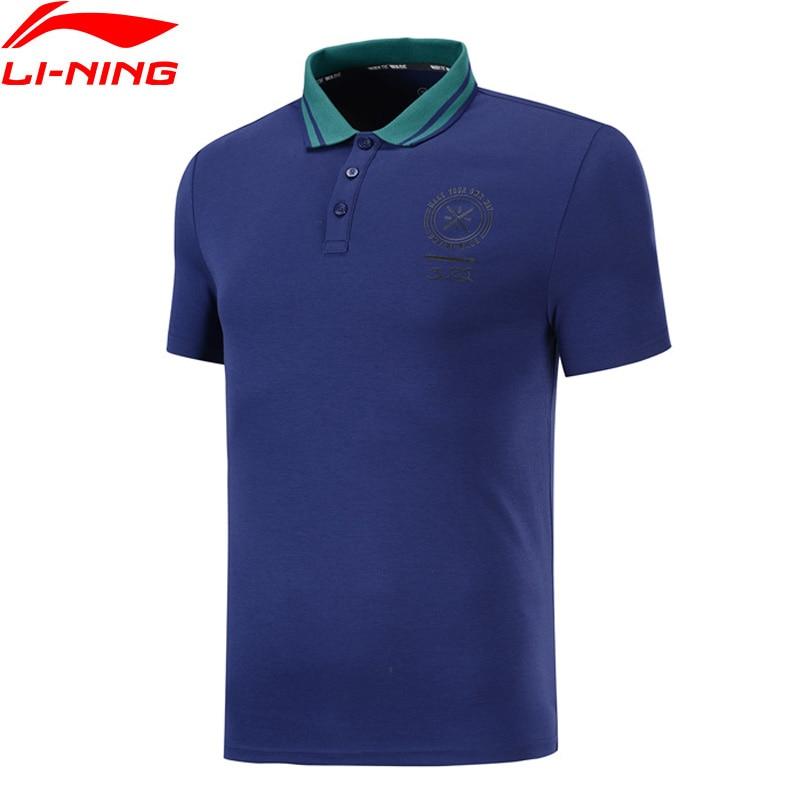Li Ning Men Wade Series Polo T Shirts 100 Cotton Slim Fit Casual Soft Comfort Shirt