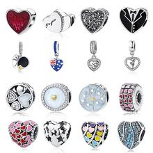 6d06d4485 2018 Summer Authentic 925 Sterling Silver Mom Love Heart Charm Beads Fit  Pandora Charm Bracelet Original