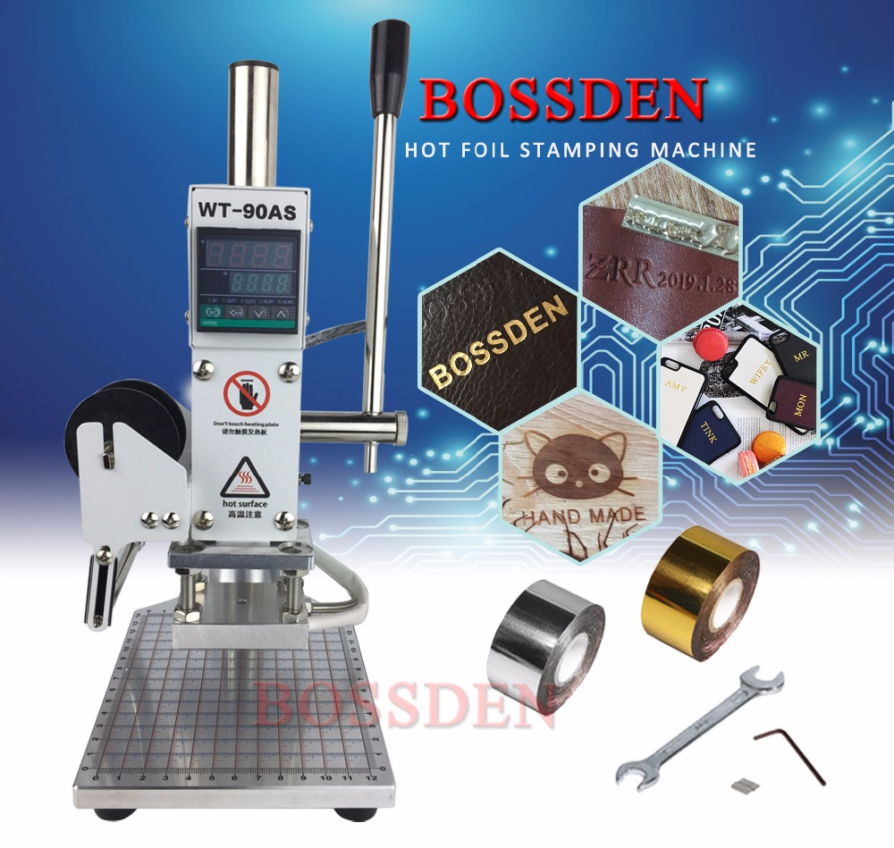BOSSDEN Digital Manual Hot Foil Stamping Machine for Paper Leather Wood PVC Bread Cards Heat Embossed