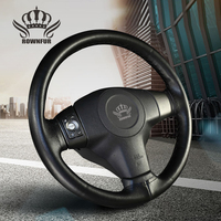 Top Layer Leather Black Cream Gray Universal Steering Wheel Steering Wheel Cover For Car Lada Steering