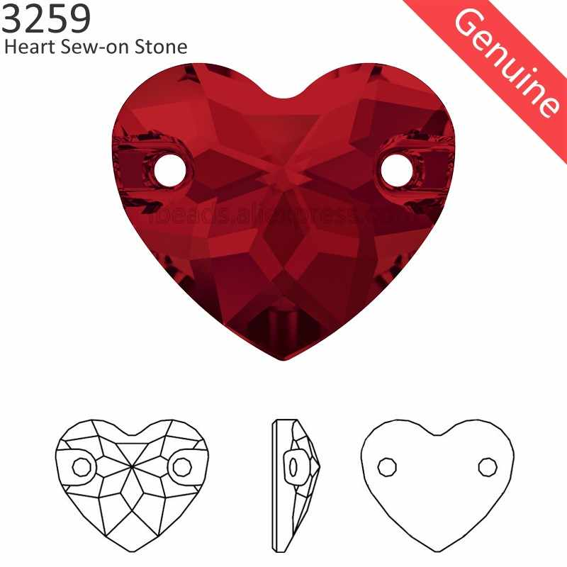 (1 piece) 100% Original crystal from Swarovski 3259 Heart sew-on rhinestone with 2 holes for DIY jewelry and clothing decoration