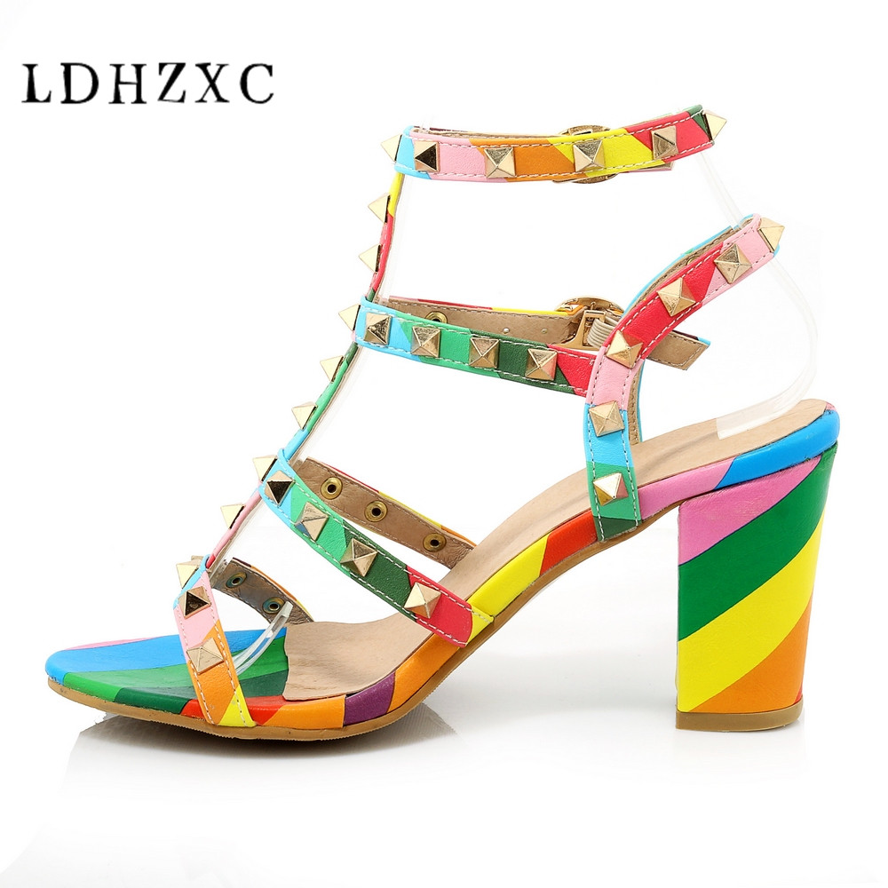 LDHZXC big size <font><b>10</b></font> 12 high heels women Mixed colors summer sandals new fashion Buckle Strap rome rivet <font><b>sexy</b></font> women sandals shoes image
