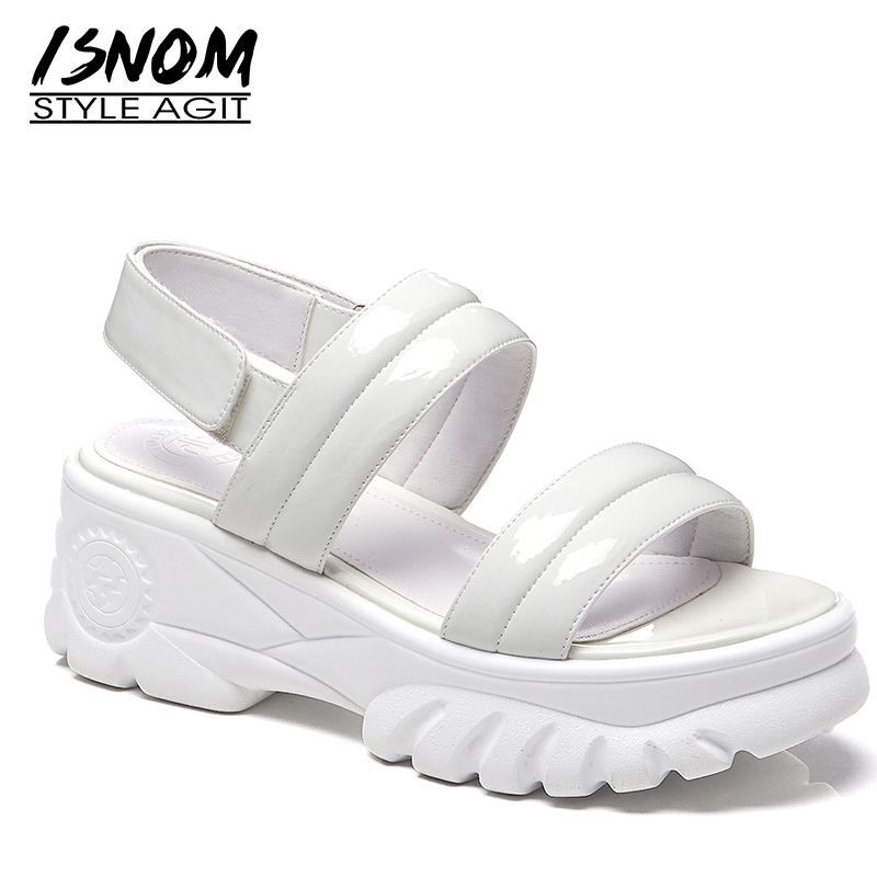 ISNOM Patent Pu Sandals Women Open Toe Footwear Fashion Casual Platform Sandals Shoes Female Flat With Shoes Woman Summer 2019ISNOM Patent Pu Sandals Women Open Toe Footwear Fashion Casual Platform Sandals Shoes Female Flat With Shoes Woman Summer 2019