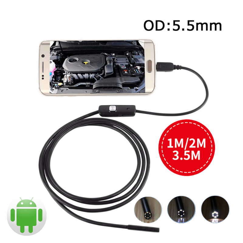 Wistino Endoscope 5.5mm Android USB Endoscopio Mini Camera OTG Inspection USB Borescope Cable Pipe Android Phone PC USB Camera mini camera endoscope 2in1 android usb camera 2m 5m 8mm hd tube pipe waterproof phone pc usb endoskop inspection borescope otg