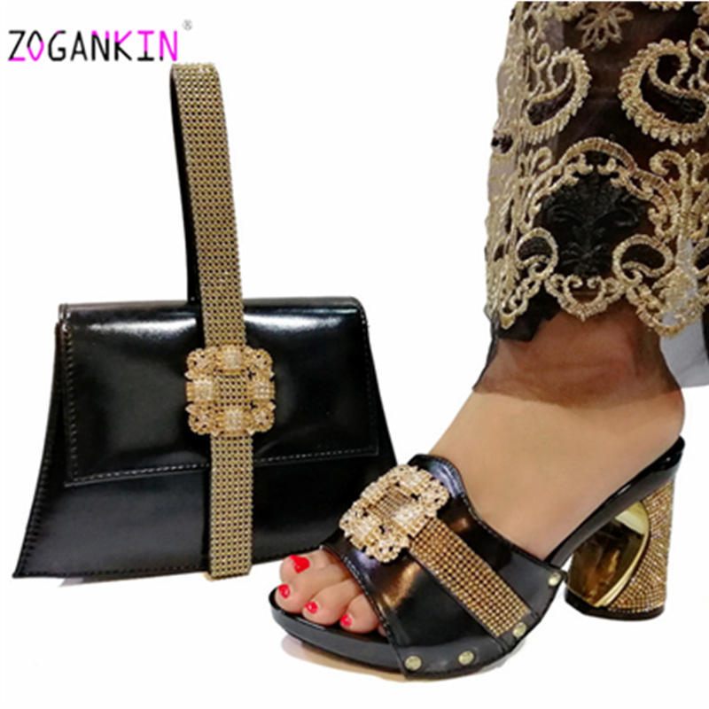 2019 Special Design Mature Style Shoes And Bags Set African Fashion Shoes And Hand Bag Set For Wedding Dress In Black Color
