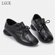 Plus Size 34-42 Genuine Leather Women Shoes Autumn Flats Oxford Shoes For Women Low Heel Loafers Lace-Up Shoese Harajuku Shoes chinese rhinestone foldable spring autumn crystal large size china genuine leather flats peach roll up famous brand shoes 10