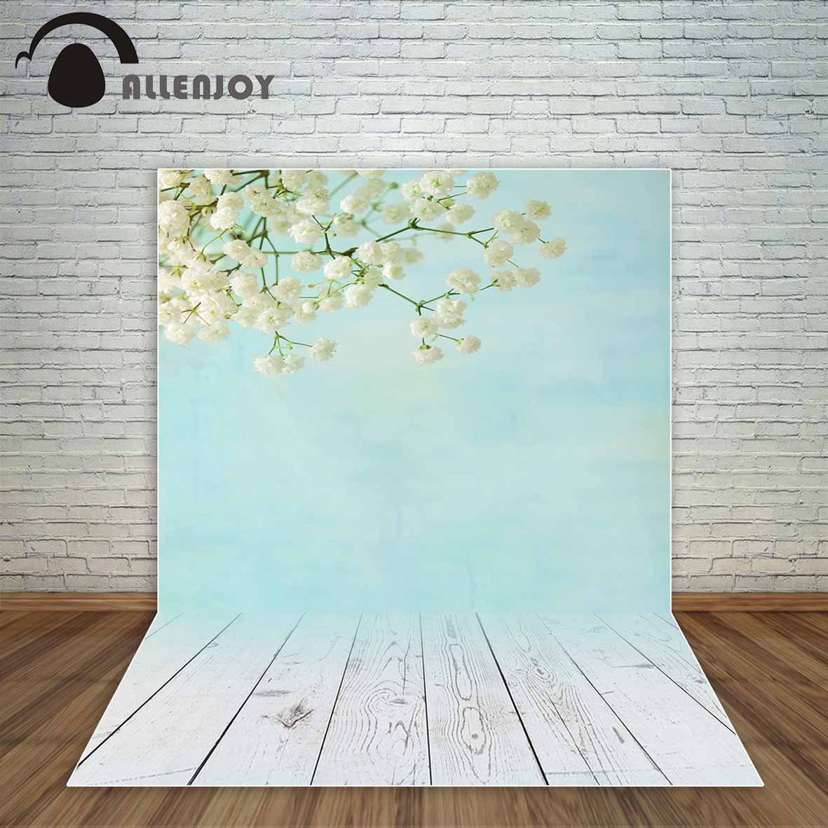 Allenjoy Pastel blue color white flowers and wooden floor Spring backdrop Wedding Background or Children's photocall decoration ovalbasket s pastel blue 1035727