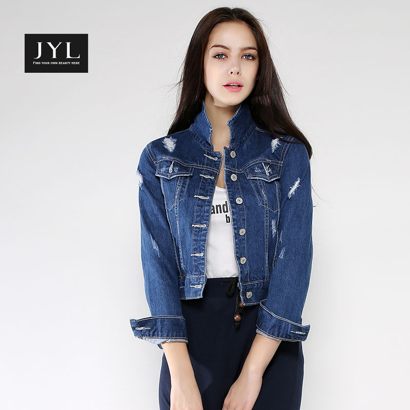 JYL New Arrival 2015 Blue Jeans Jackets Womenturndown Collar Quality Denim Long Sleeve Ladies ...