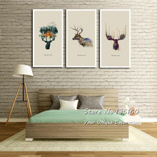 Abstract Watercolor Deer Canvas Painting Large Wall Art Prints Beautiful buckhorn Spirit Pictures Office Room Decor Not Framed