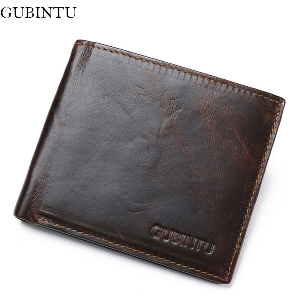 GUBINTU Genuine Leather Men Wallet Short Brand Vintage Coin Purse Slim Cowhide Leather Card Holder Rfid-- BID186 PM49 new fashion gubintu removeable pocket men vintage wallets cow genuine leather wallet brand purse card holder coin purse jan 19