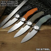 LCM66 High Quality Folding Knives D2 Blade G10 Handle Flipper Tactical Knife Outdoor Camping Survival Sharp