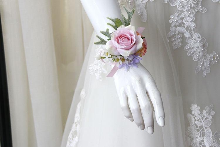 pink wrist corsage boutonniere wedding  (13)