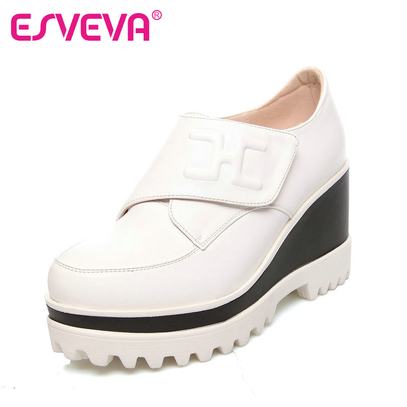 ФОТО ESVEVA Spring All Match Women Wedges High Heel Pumps Real Leather Lady Round Toe Platform Pumps White Casual Shoes Size 34-39