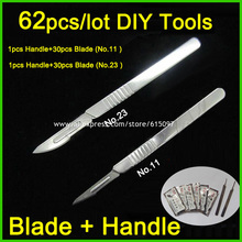 62pcs/lot Blade and Handle 11# and 23# Medical Scalpel Opening Repair Tools Knife for Disposable Sterile/Mobile Phone/Beauty/DIY