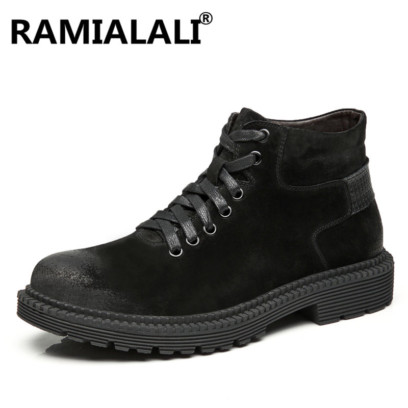 Chaussures marron Marque Véritable Cuir De Noir Qualité En Mode Mâle Noir D'hiver Hommes gris Bottes qztaOz