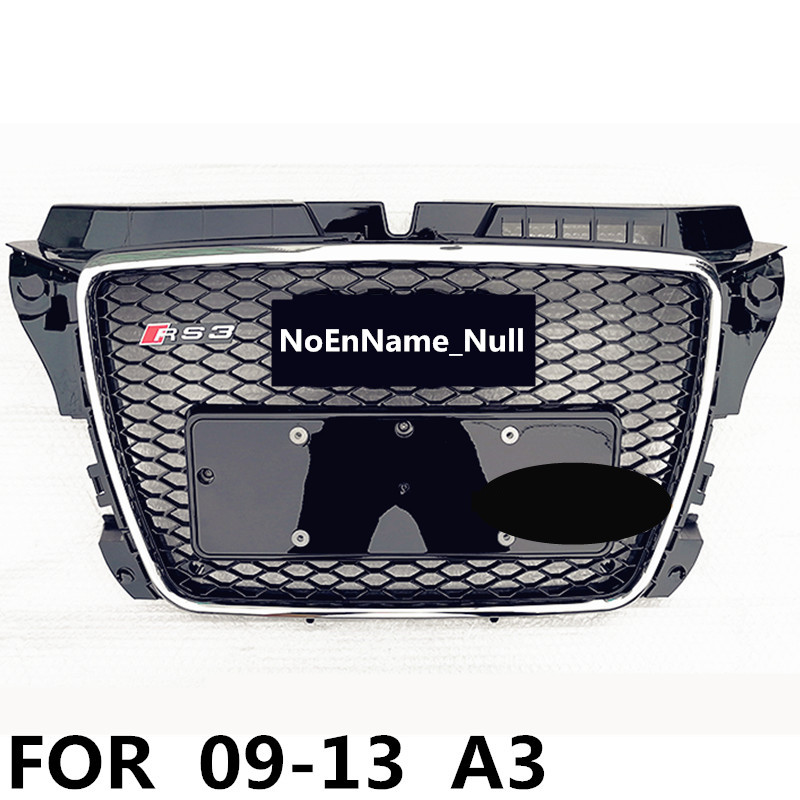 RS3 Style Chrome frame Black Front Bumper mesh Grill Grille Car styling For Audi A3 S3 RS3 2009 2010 2011 2012 2013