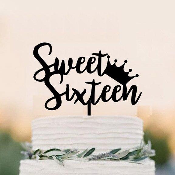 Sweet Sixteen Birthday Cake Topper, 16 Jaar Oude Crown